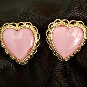 Beautiful pink heart earrings